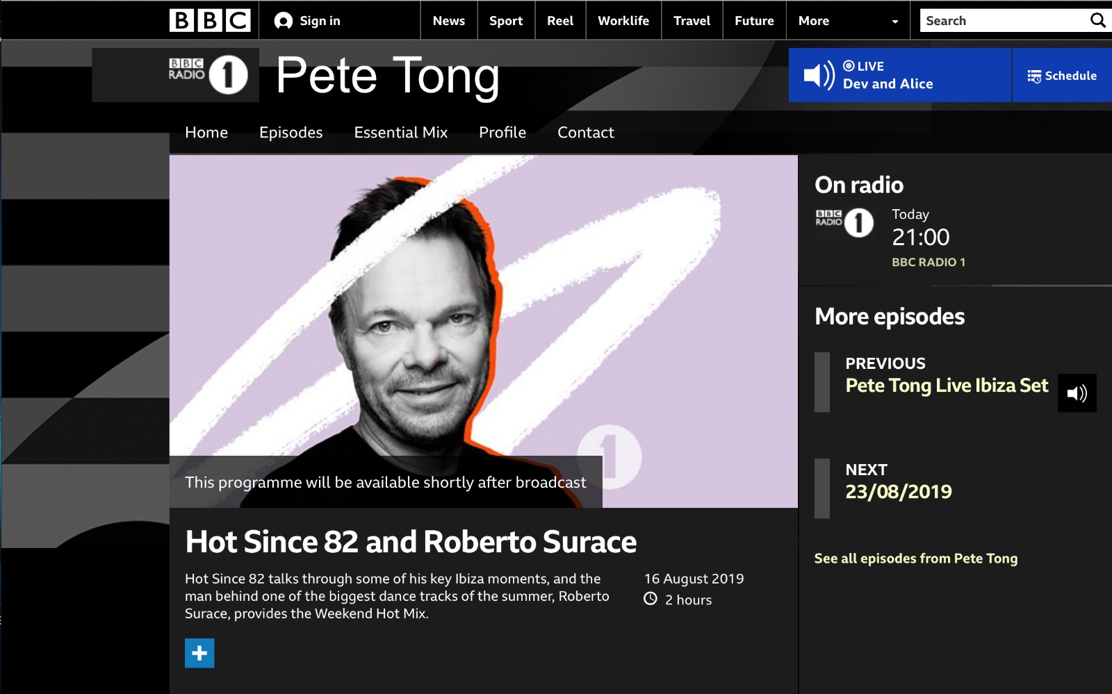 BBC Radio 1 - Pete Tong, Hot Since 82 and Roberto Surace